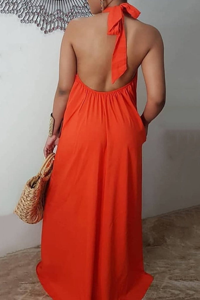 Halter Open Back Sleeveless Maxi Dress