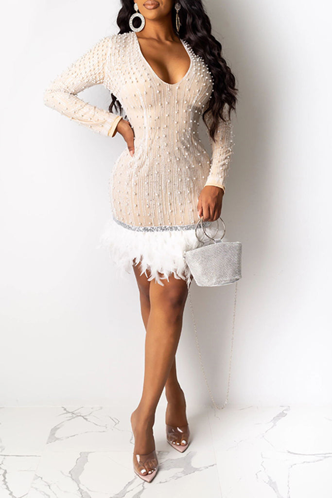Feather Hem Pearl Decorated V-Neck Dress