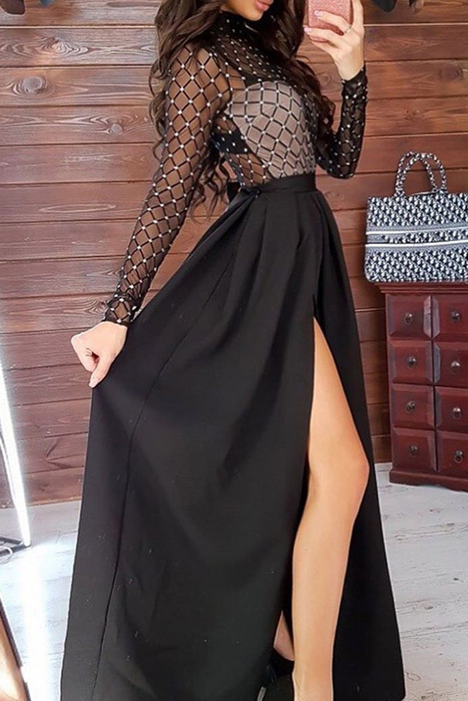 Mesh High Slit Long Sleeve Party Two Piece Dresses