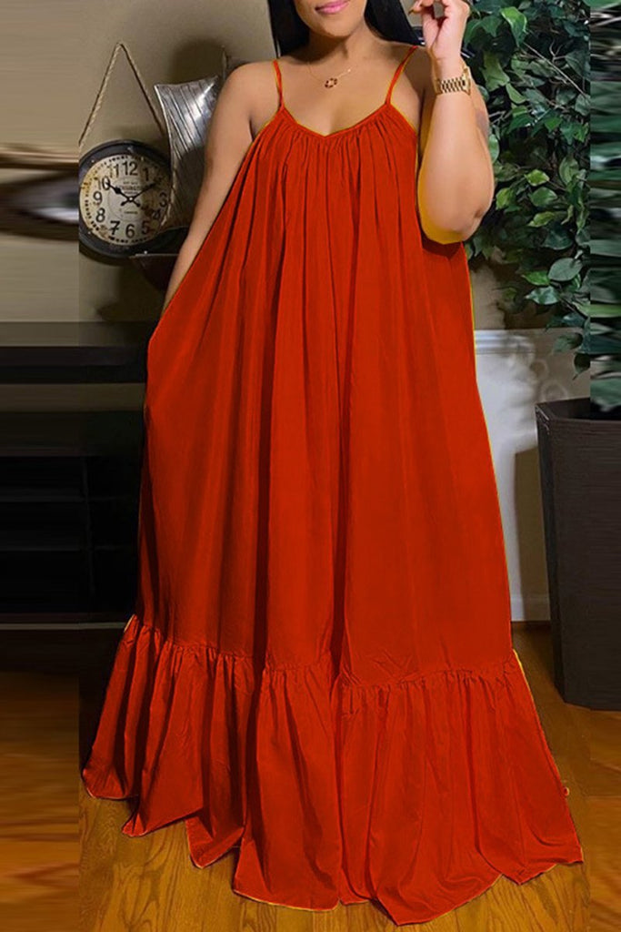 Plus Size Open Back Ruffled Maxi Dress