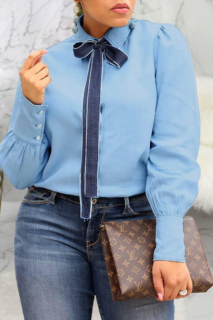 Denim Turndown Collar Bowknot Long Sleeve Top