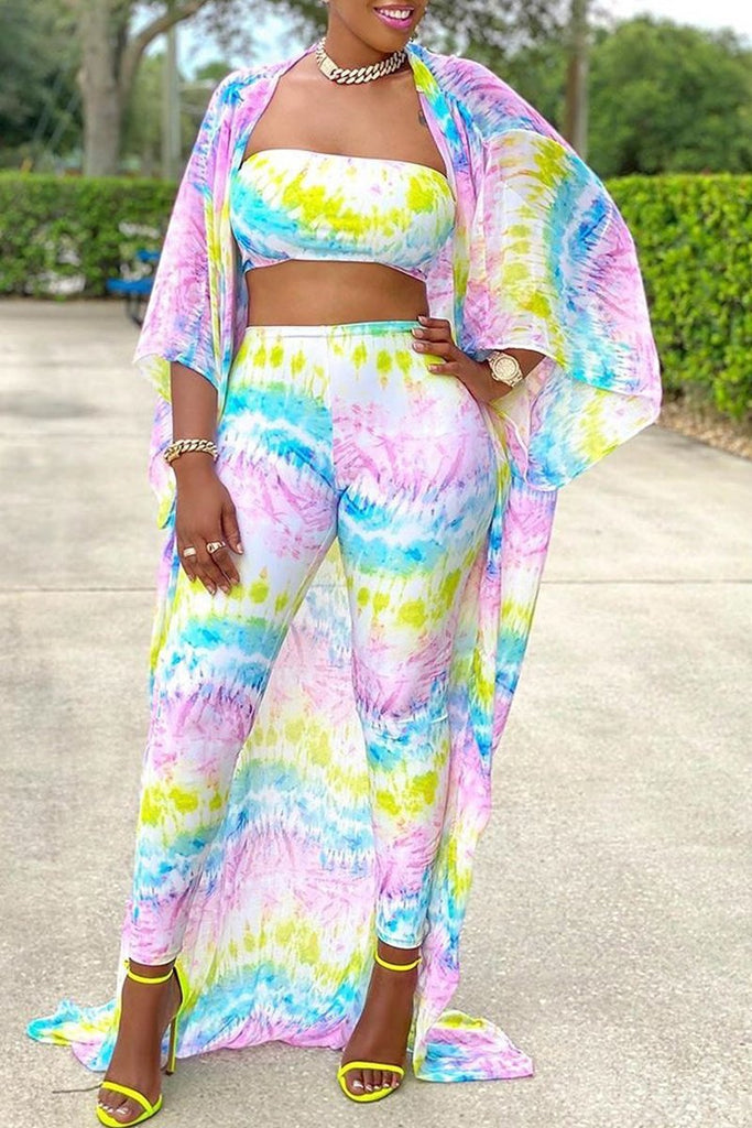 Tie Dye Strapped Chiffon Three Pieces Outfits