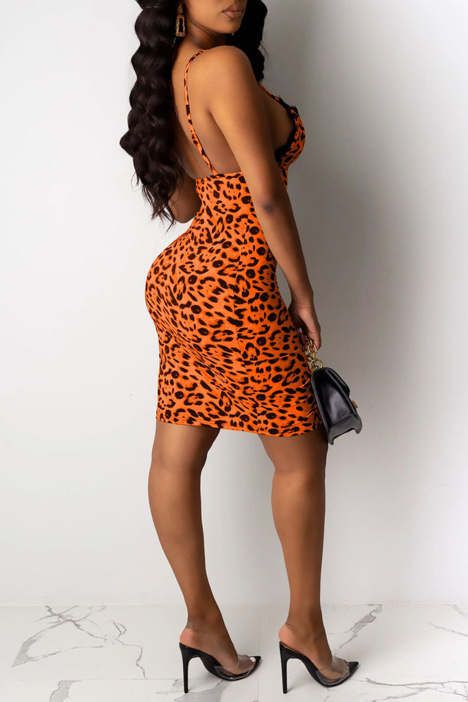 Leopard Print Slit Hem Slip Party Mini Dress