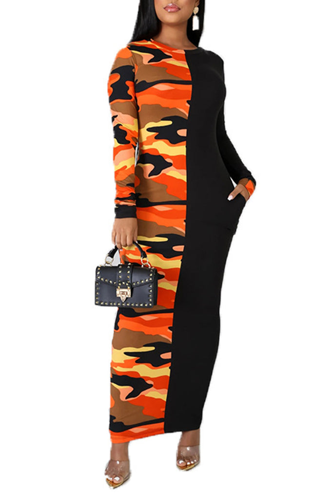 Camouflage Splicing Pocket Maxi Dress