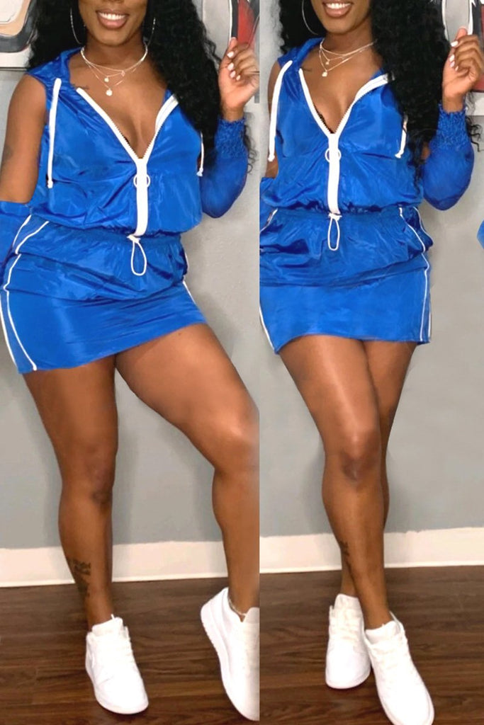 Cold Shoulder Zipper Hooded Mini Dress