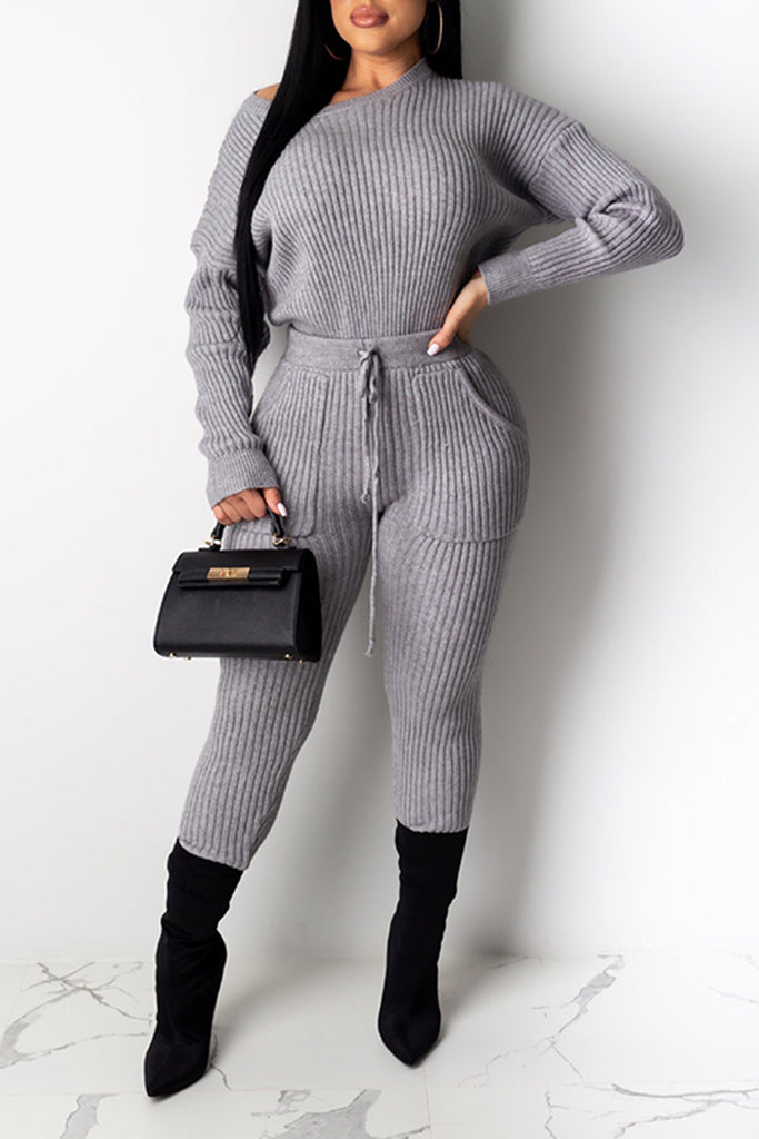 Knitted Skew Neck Pocket Two Piece Sets