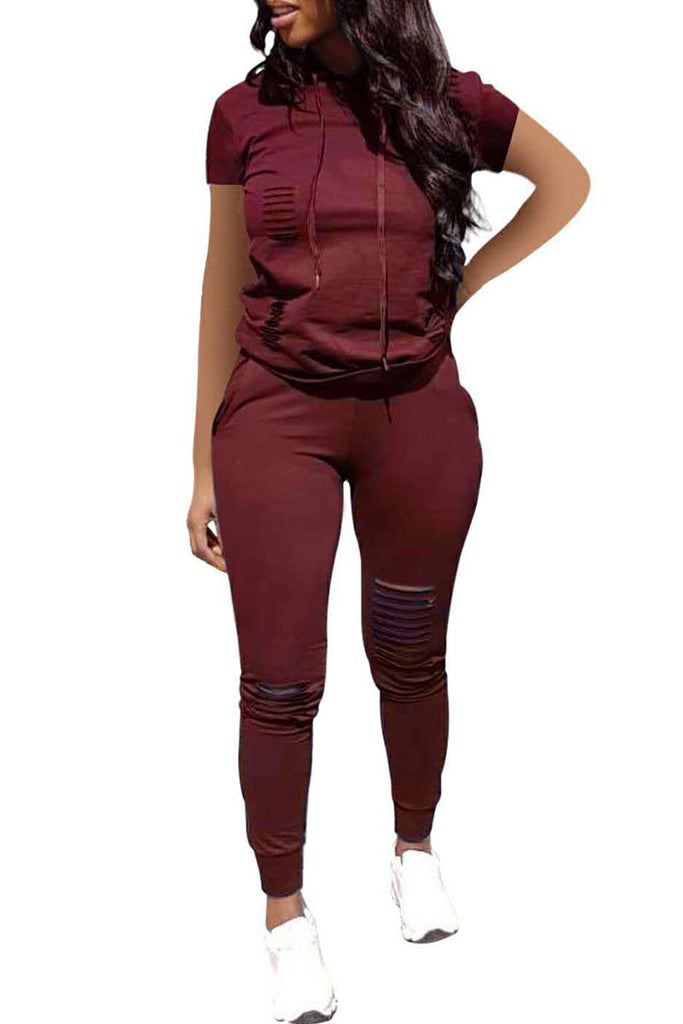 Distressed Plus Size Solid Color Two Piece Sets