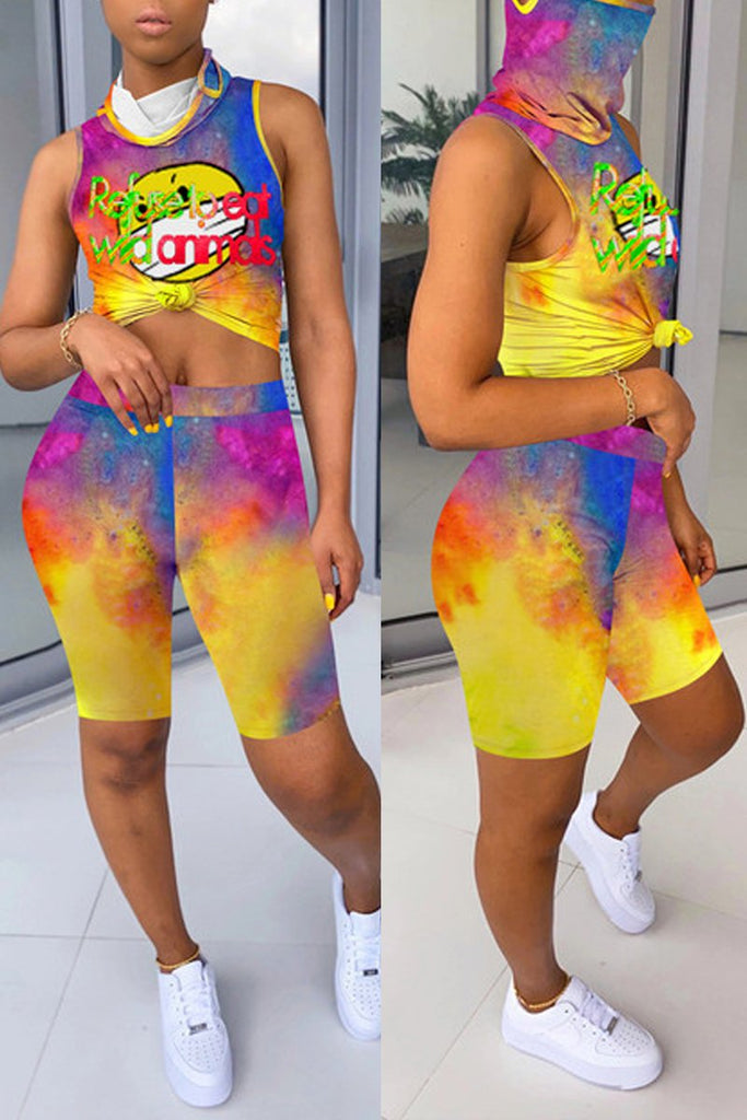 Sleeveless Tie Dye High Neck Mask Two Piece Sets