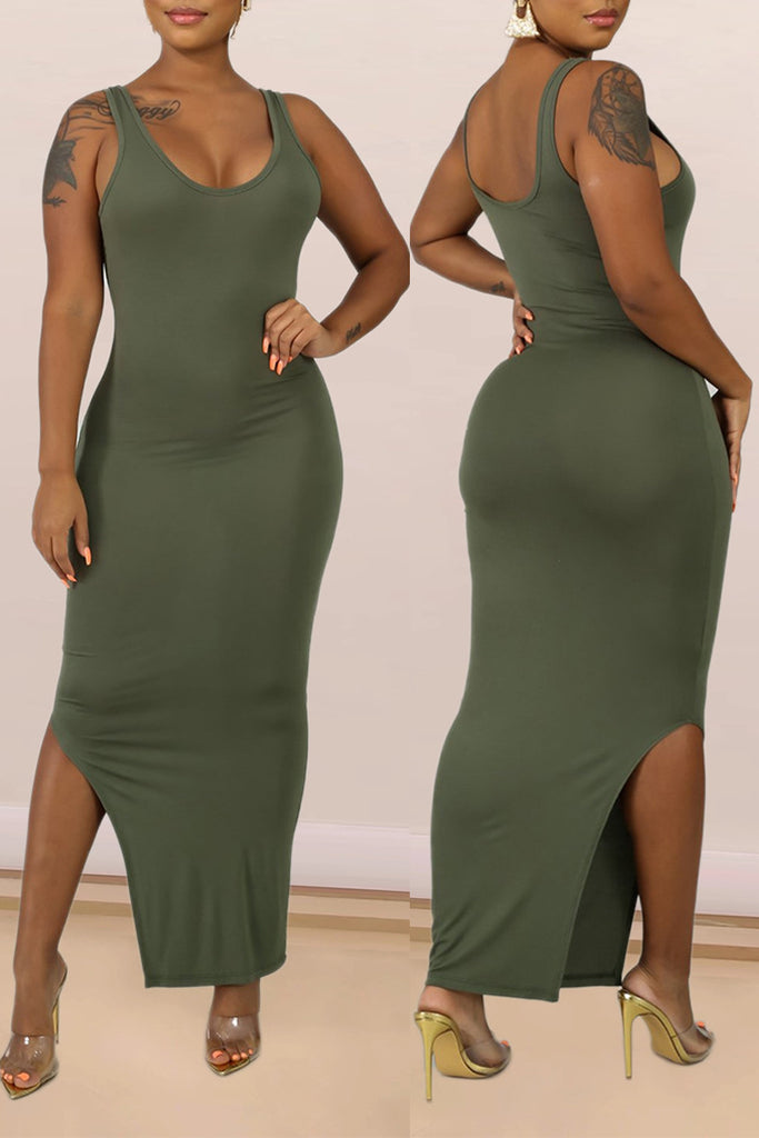Skew Neck Slit Hem Two piece Maxi Dress