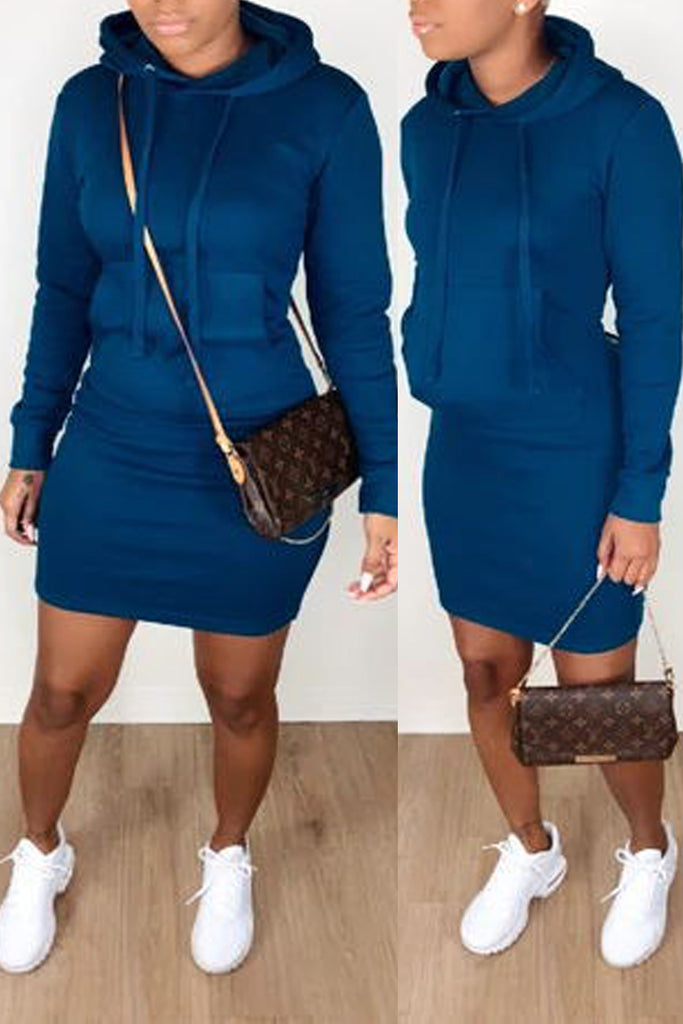 Solid Color Hooded Collar Pocket Mini Dress
