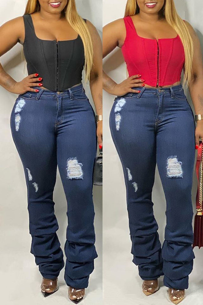 Hole Distressed High Waist Stacked Jeans