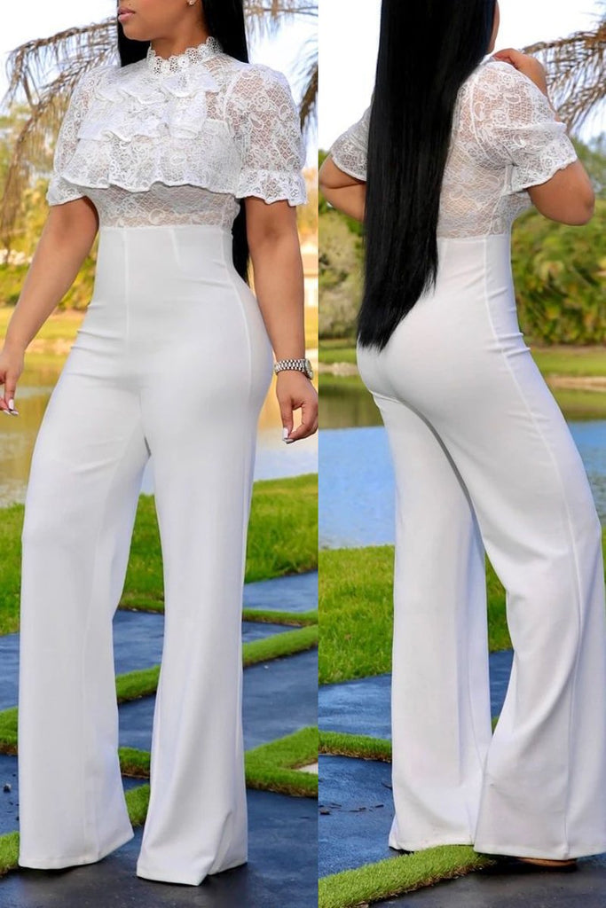 See-through Lace Patchwork Solid Color Jumpsuit