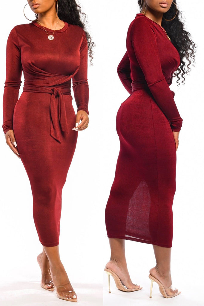 Bandage Long Sleeve Bodycon Midi Dress