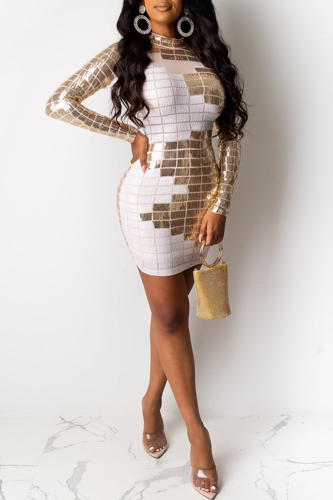 Sequin Hot Drilling Club Mini Dress