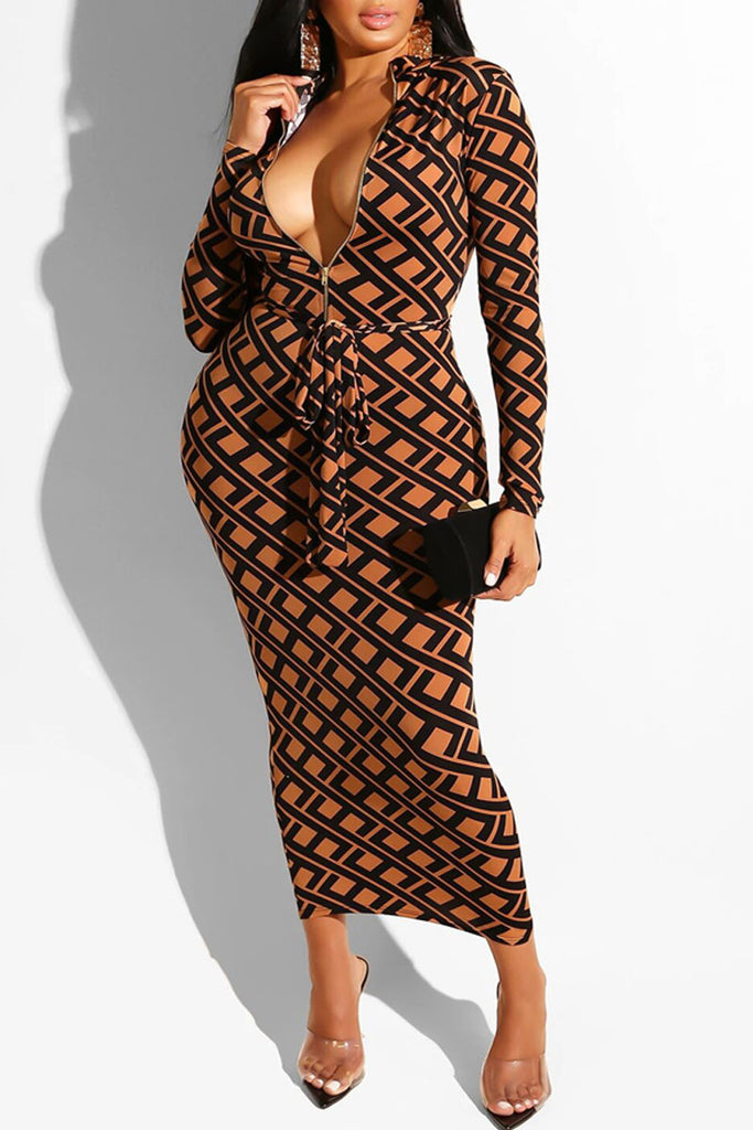Lace-up Print Reverse Wear Midi Dress