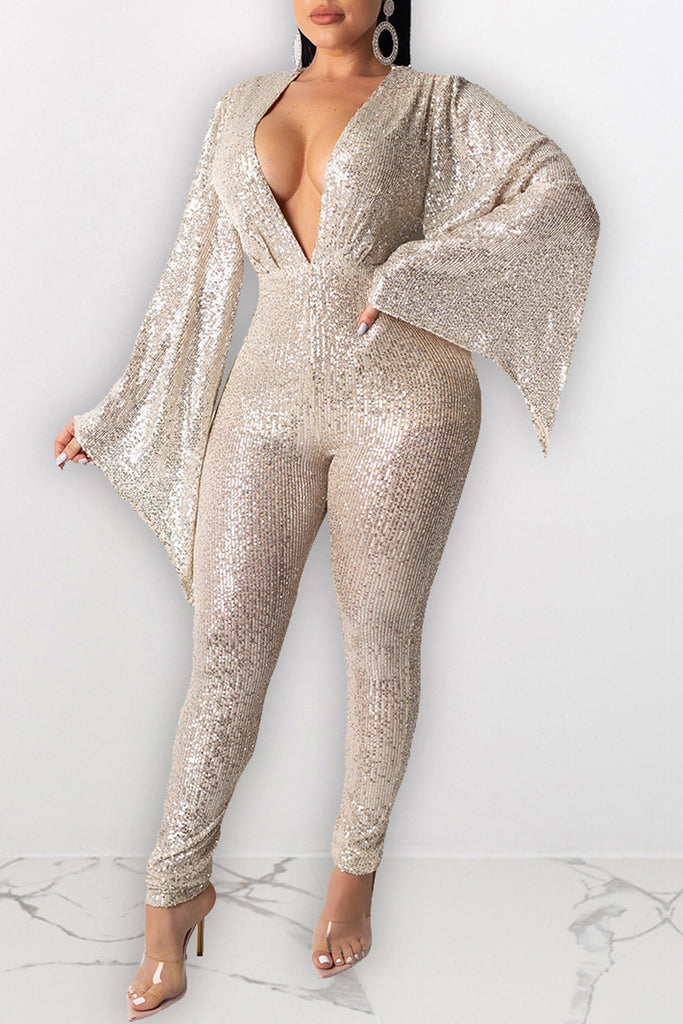 Deep V Neck Sequin Sexy Jumpsuit