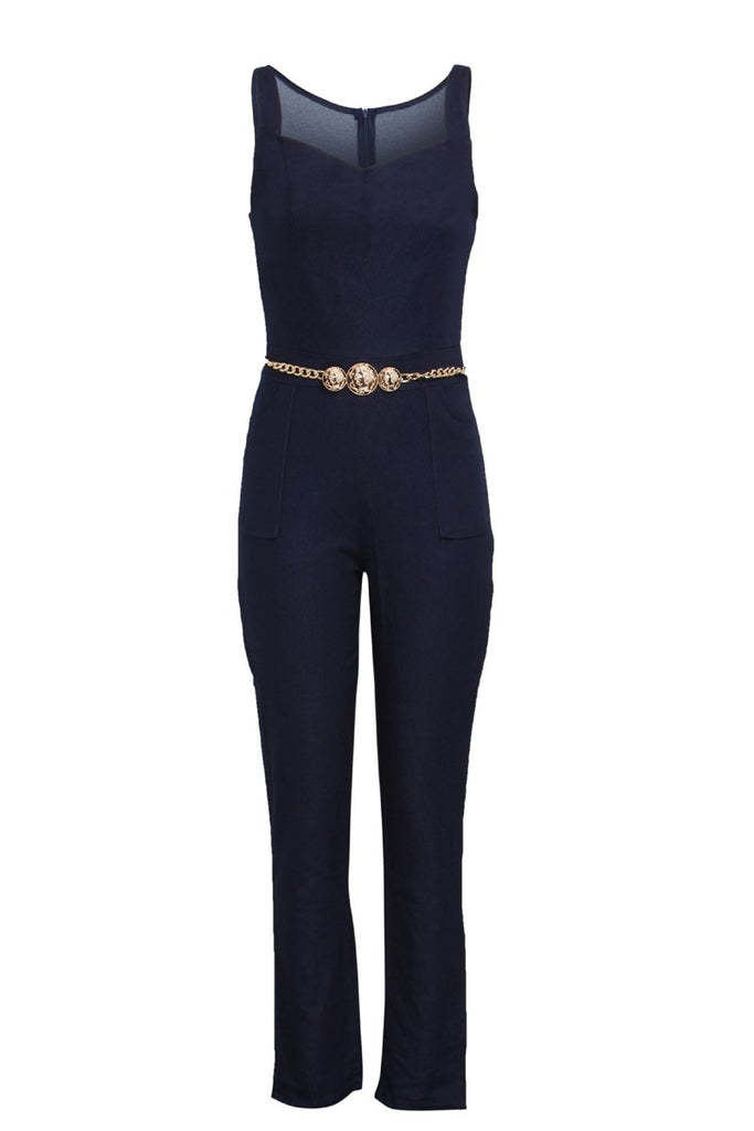 Denim Plus Size Spaghetti Straps Belted Jumpsuit