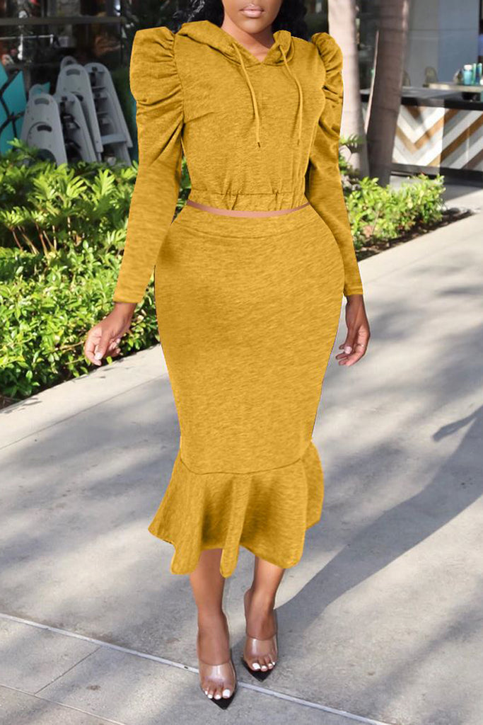 Hooded Collar Puff Sleeve Two Piece Midi Dress