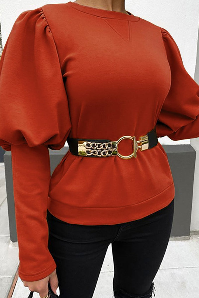 Solid Color Puff Sleeve Blouse Without Belt