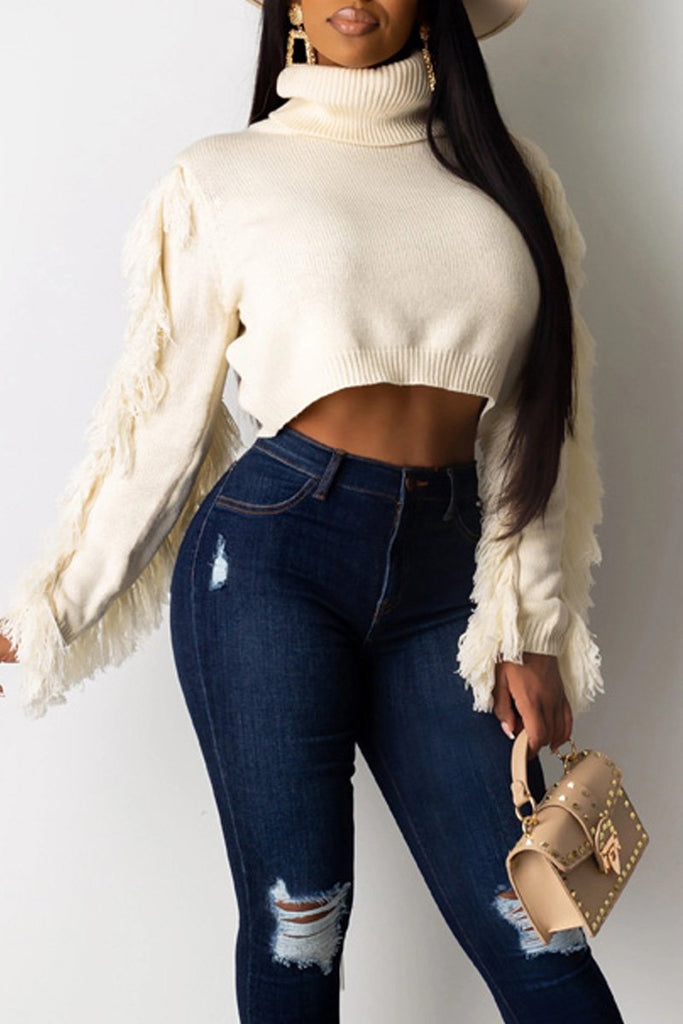 Turtleneck Tassel Sleeve Solid Color Sweater