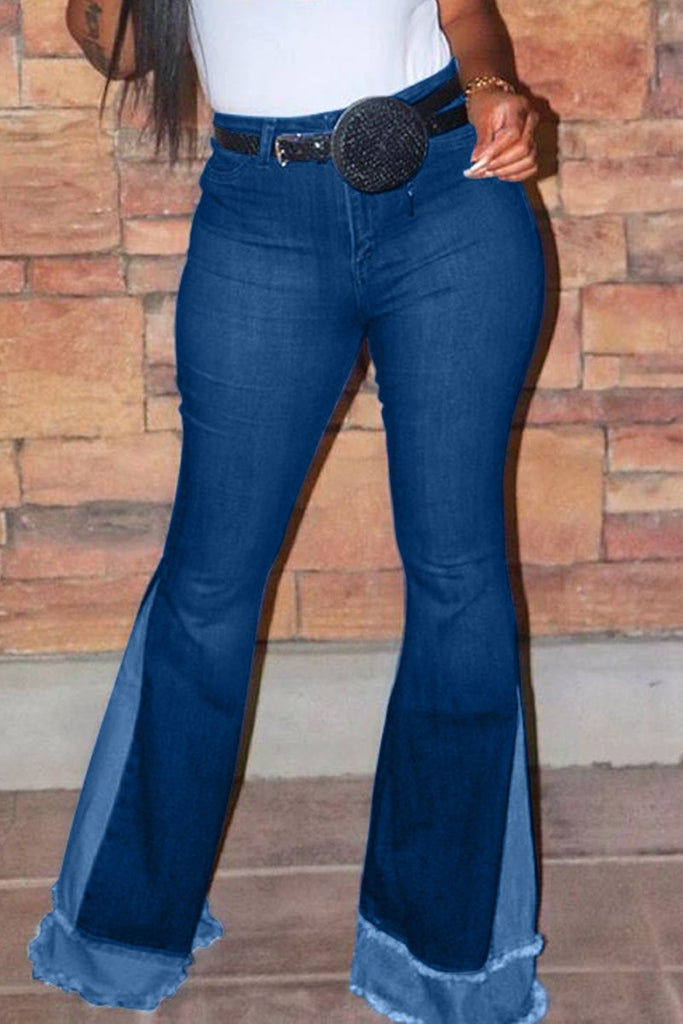 High Waist Patchwork Flared Jeans Without Belt