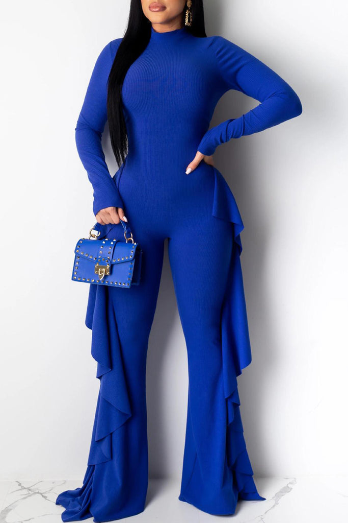 Flounced Open Back Rib Jumpsuit Without Belt
