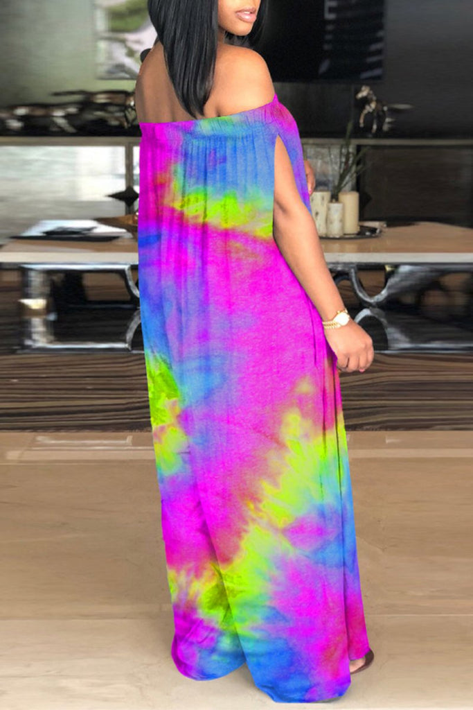 Off The Shoulder Tie Dye Pocket Jumpsuit