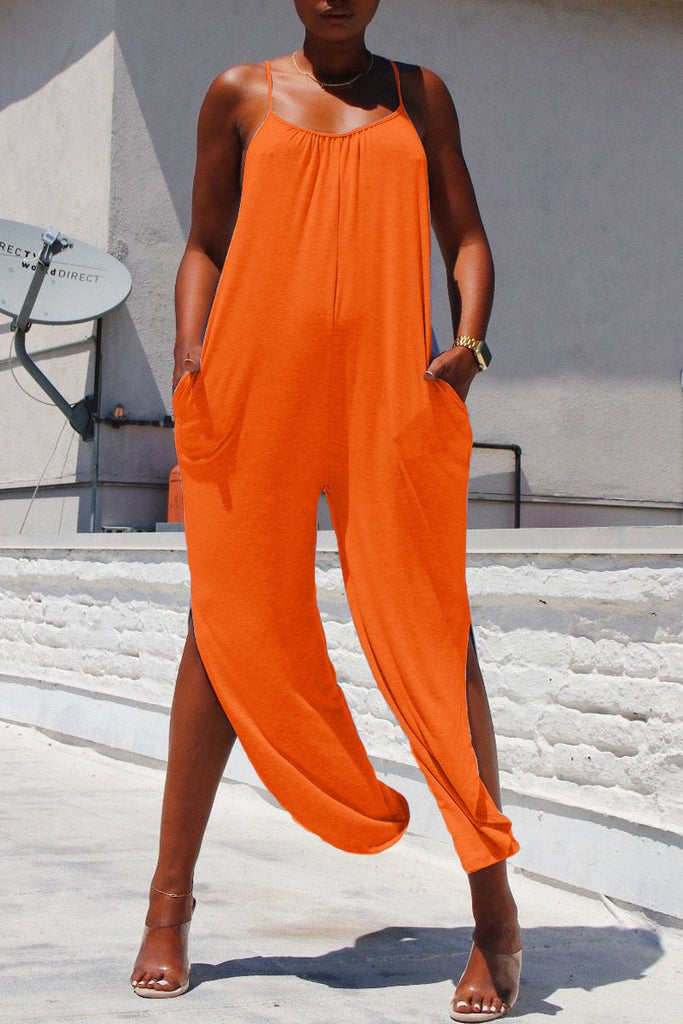 Spaghetti Straps Side Slit Solid Color Jumpsuit