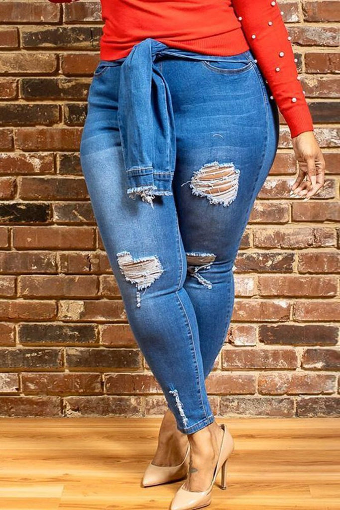 Plus Size Hole Distressed High Waist Belted Pants