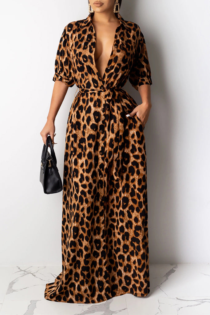 Leopard Print Turndown Collar Belted Maxi Dress