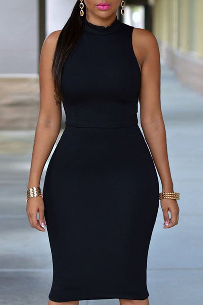Solid Color Sleeveless Bodycon Midi Dress