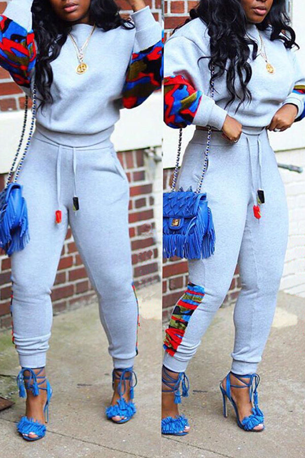 Digital Print Pocket Long Sleeve Two Piece Sets