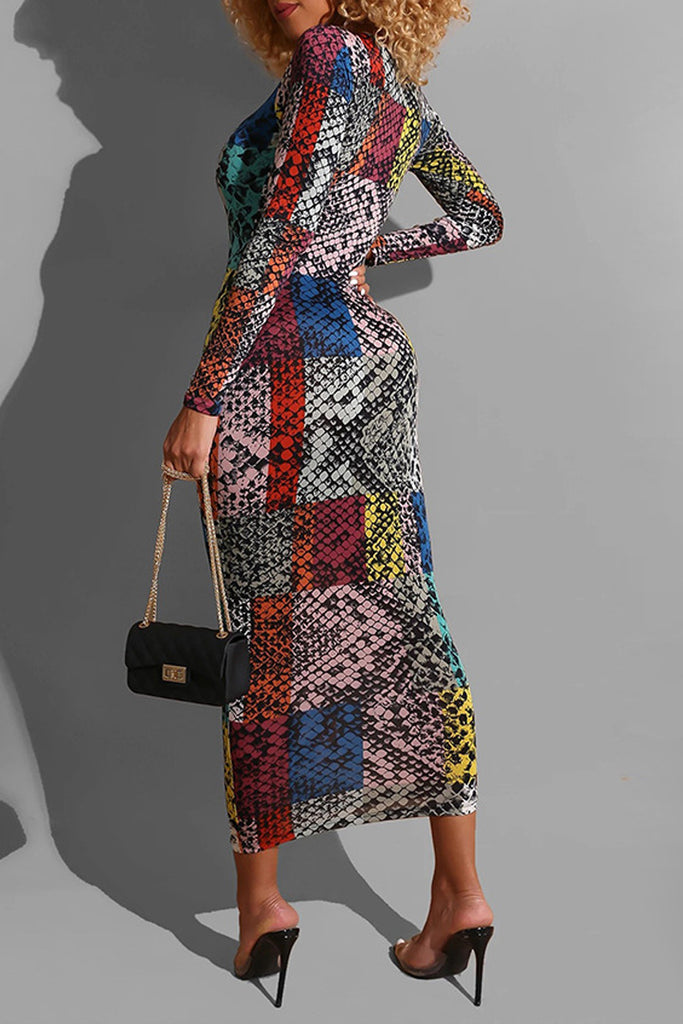 Mixed Color Snake Print Bodycon Midi Dress