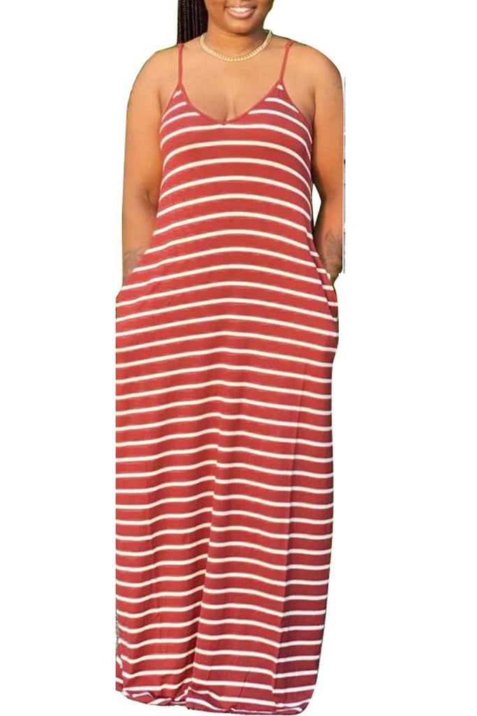 Spaghetti Straps Plus Size Stripe Print Dress