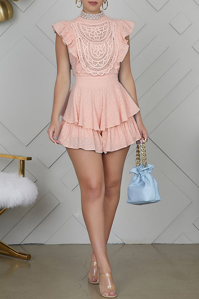 Lace Patchwork Ruffle Sleeve Lace-up Romper