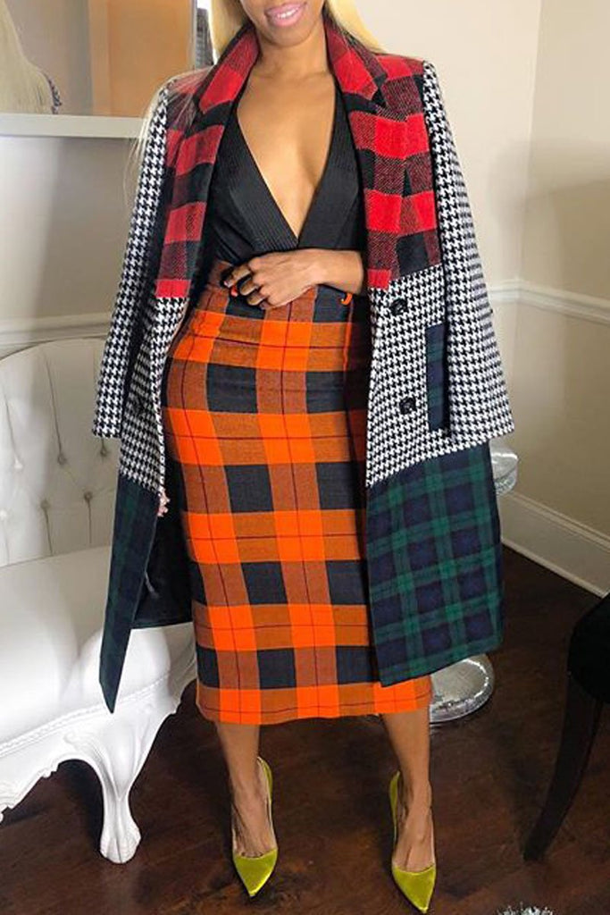 Color Block Wool Plaid Trench Coat