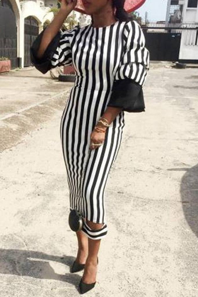 Stripe Print Puff Sleeve Midi Dress