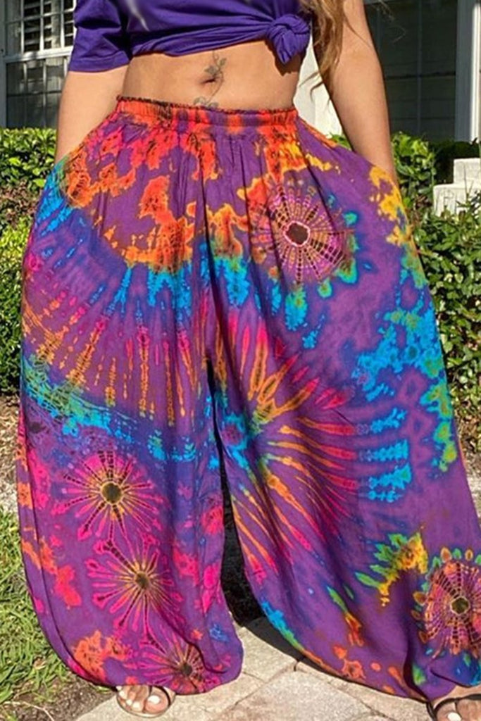 Plus Size Digital Print Wide Leg Lantern Pants