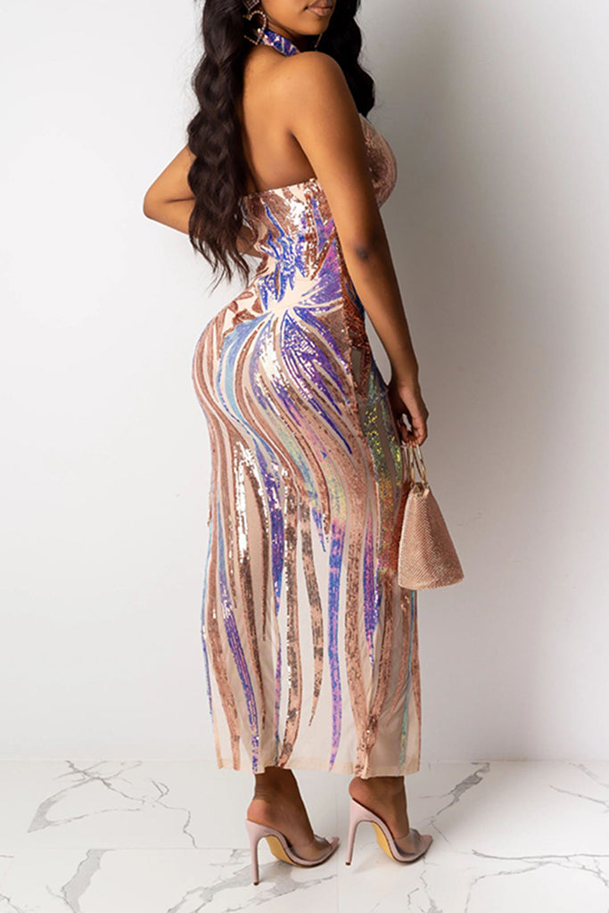 Sequins High Slit Halter Club Dress