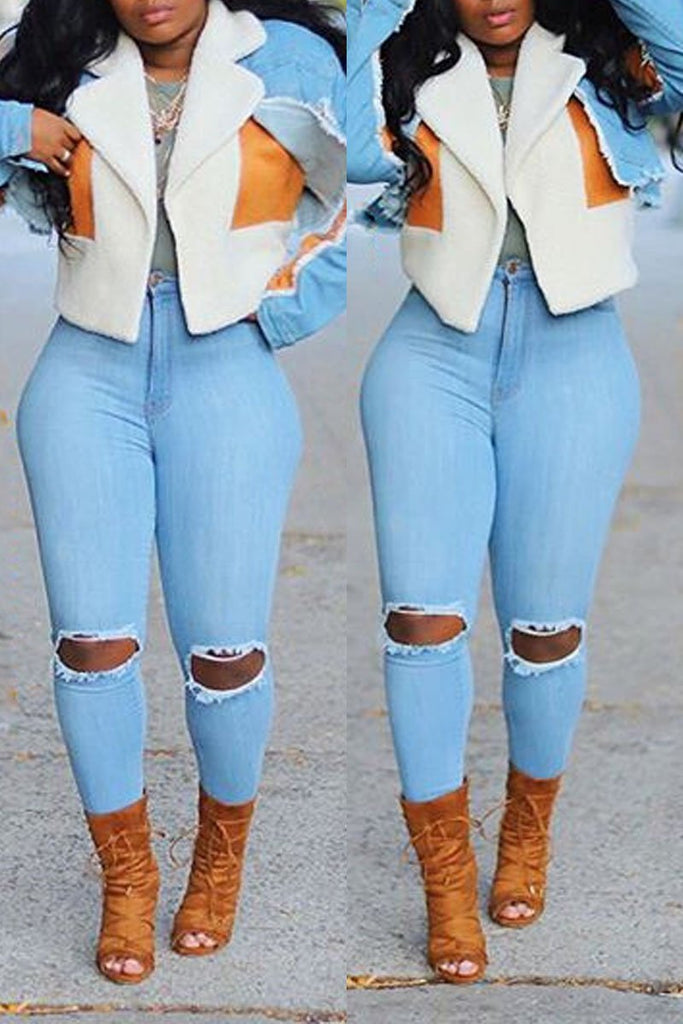 Denim Color Block Suede Fabric Coat