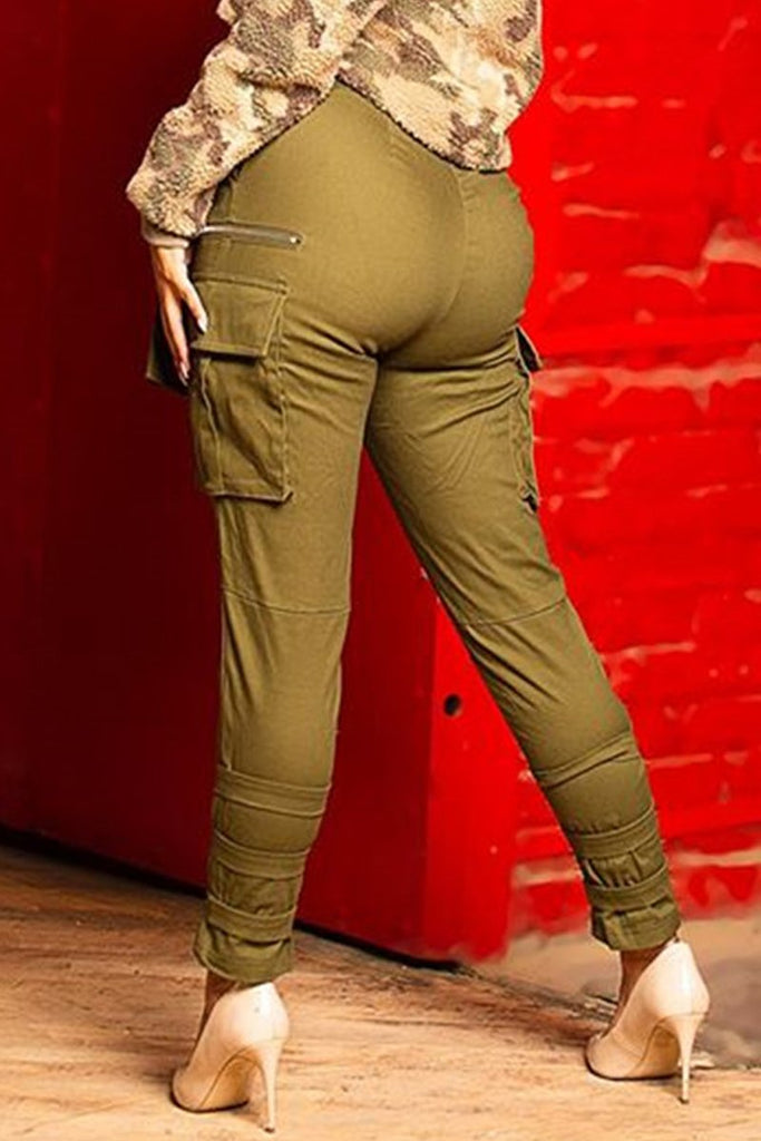 Bandage High Waist Solid Color Pants