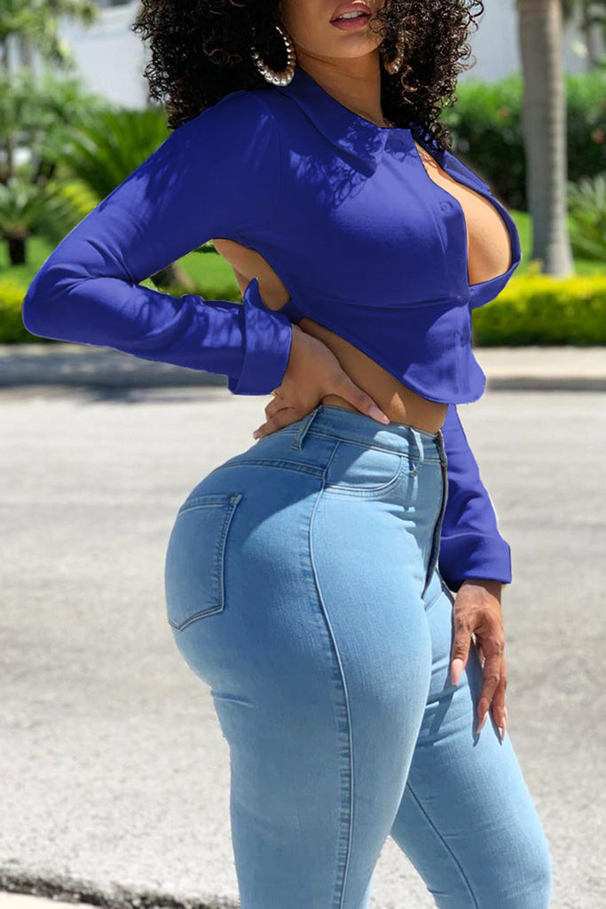 High Waist Solid Color Open Back Top