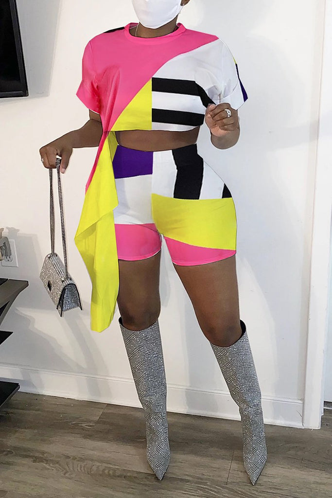 Color Block Tie Up High Waist Top & Shorts