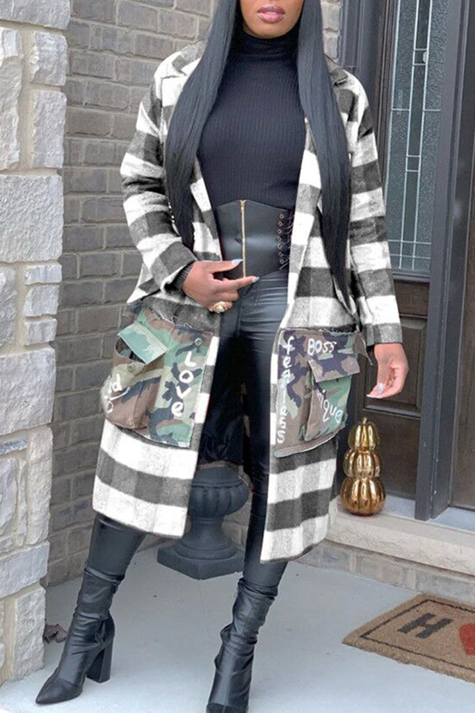 Appliques Plus Size Lattice Long Sleeve Coat