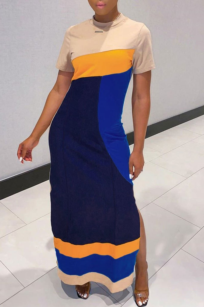 Side Slit Color Block Maxi Dress