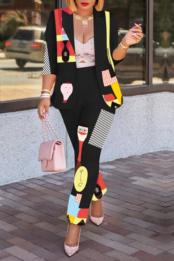 Cartoon Print Turndown Collar Coat & Pants