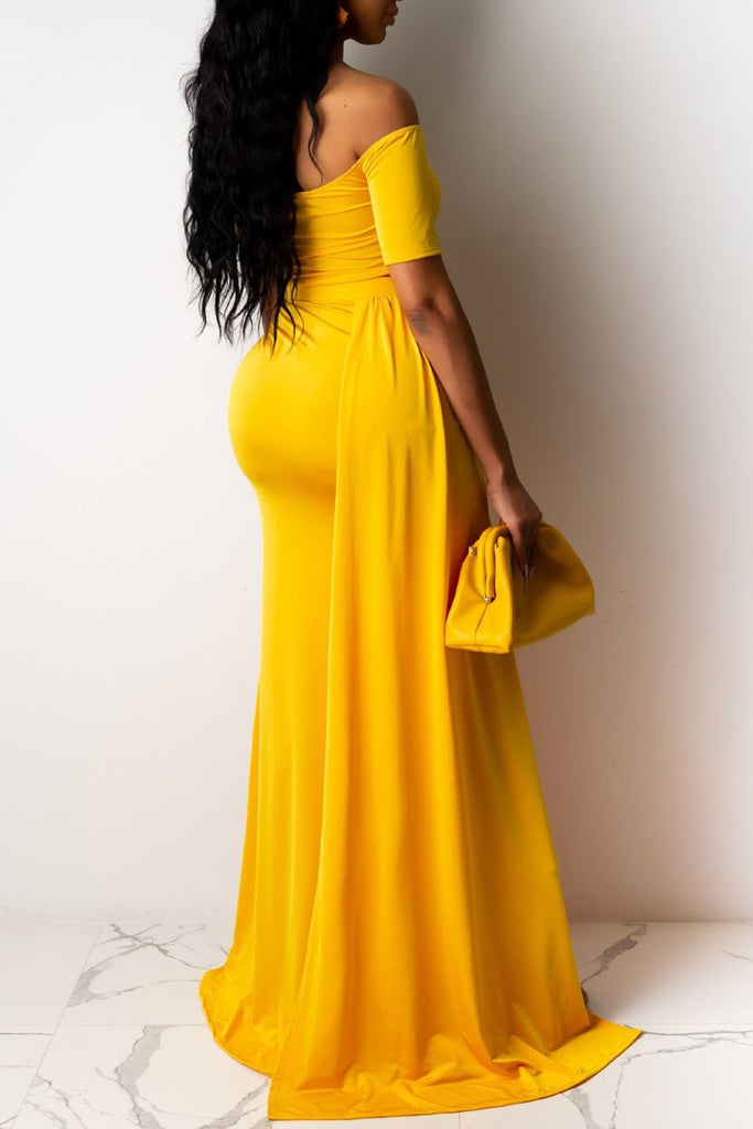 Off The Shoulder Lace-up High Slit Maxi Dress