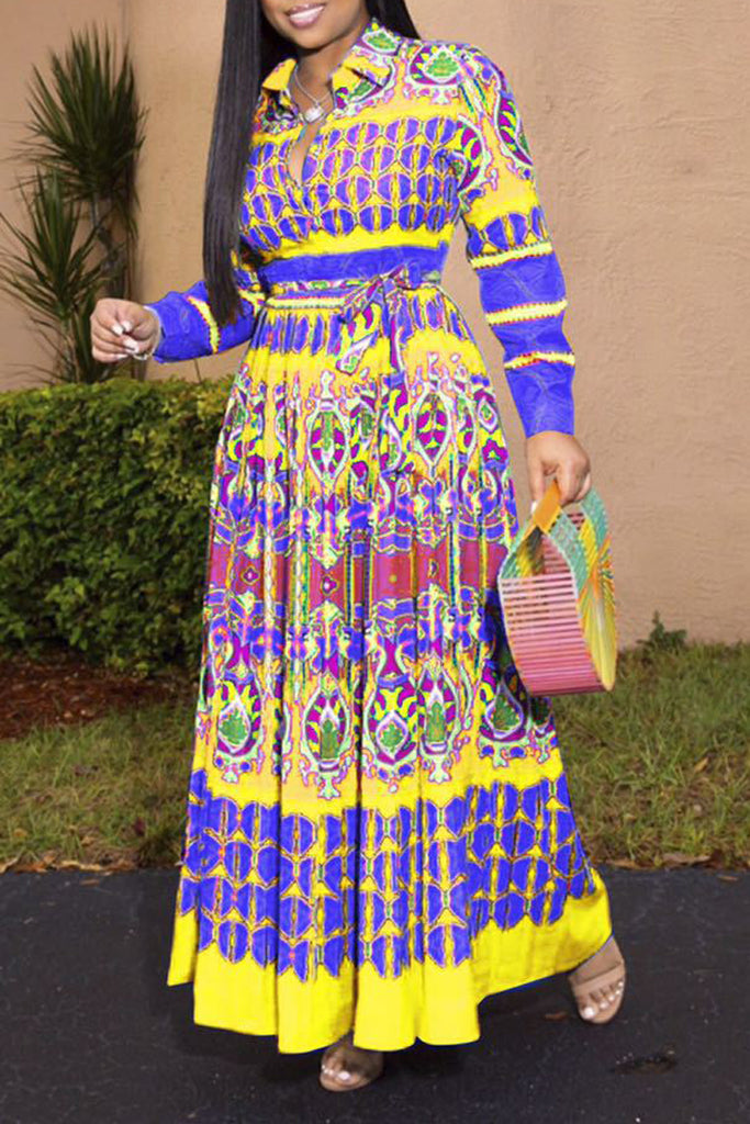 Plus Size Geometric Print Belted Maxi Dress