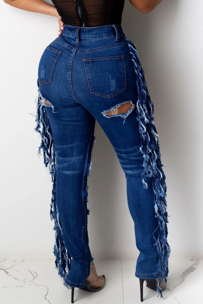 Plus Size Tassel Hem Hole Distressed Jeans