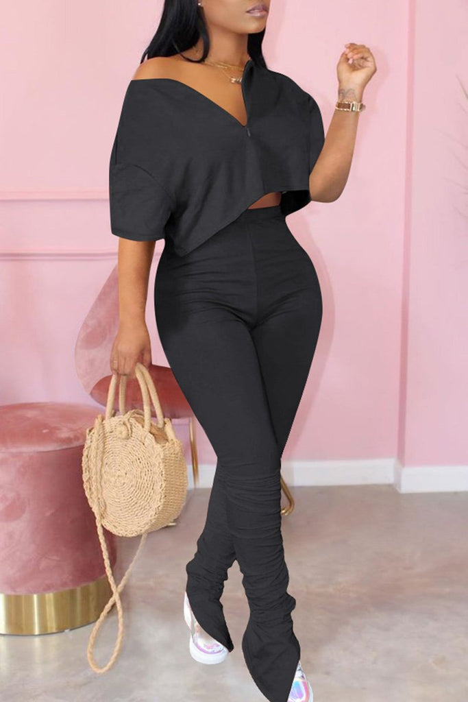 Plus Size Skew Neck Wrinkled Two Piece Sets